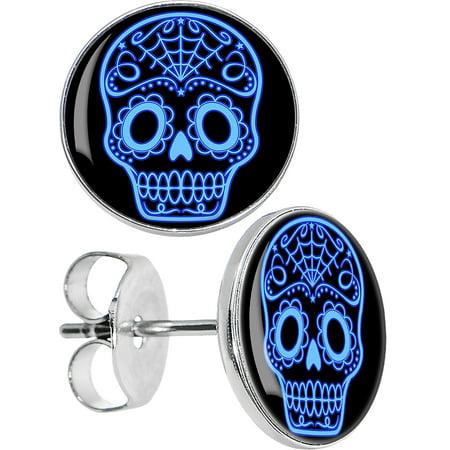 Sugar Skull Earrings (Body Candy Stainless Steel Black Blue Sugar Skull Art Stud)
