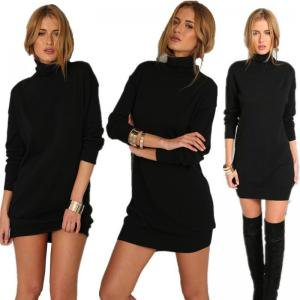 9f7533f250 Women s Long Sleeve Turtleneck Bodycon Sweater Dress Ribbed Knit Slim Mini  Dress
