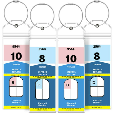GreatShield Cruise Luggage Tag Holder (4 Pack) Zip Seal & Steel Loops, Water Resistance PVC Pouch for Royal Caribbean and Celebrity Cruise