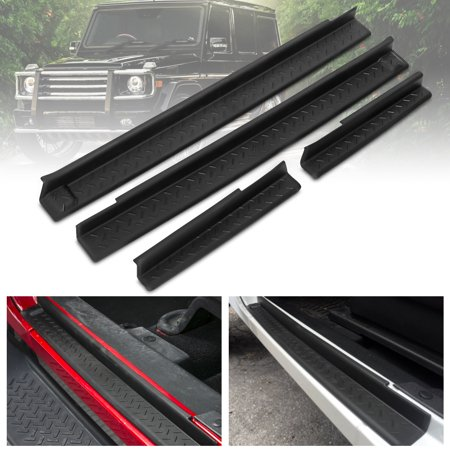 For 2007-2018 Jeep Wrangler JK 4pcs Black Door Sills Scuff Plate Entry Guards New (Jeep Wrangler Net Top)