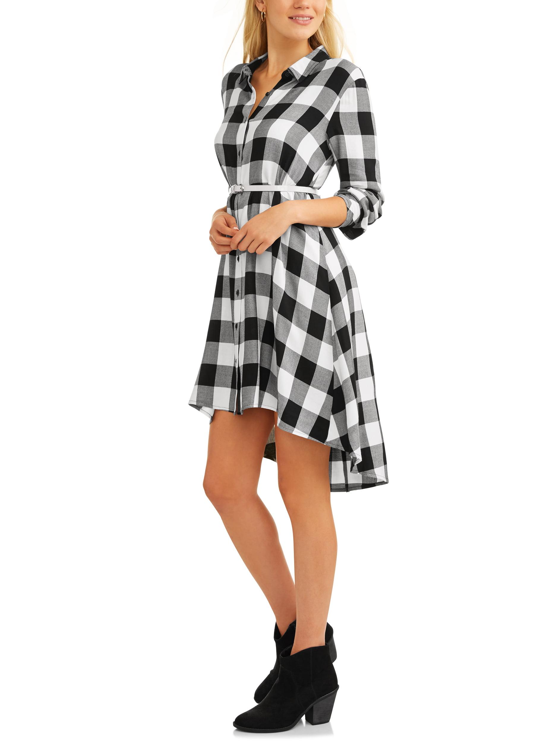 be2884b4297 Time and Tru - Women s Hi Lo Plaid Shirt Dress - Walmart.com
