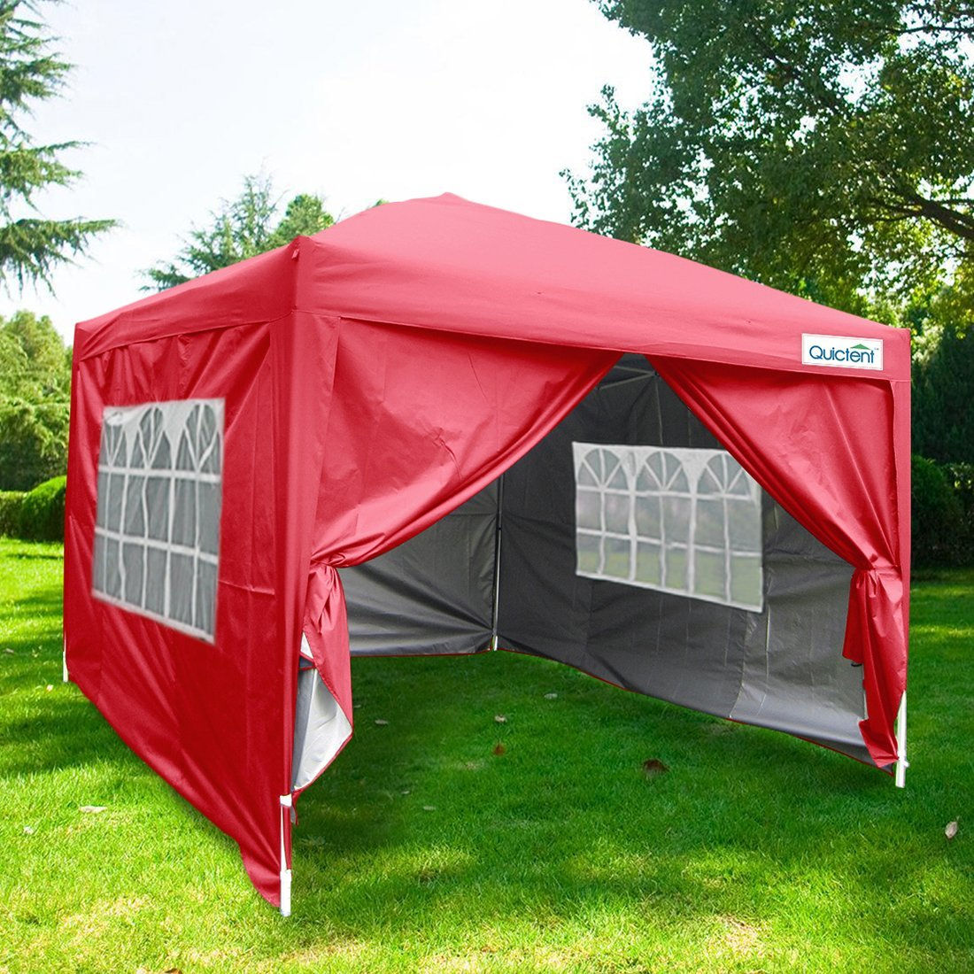 Quictent Silvox Waterproof 8x8u0027 EZ Pop Up Canopy Gazebo Party Tent Red Portable Style & Quictent Silvox Waterproof 8x8u0027 EZ Pop Up Canopy Gazebo Party Tent ...