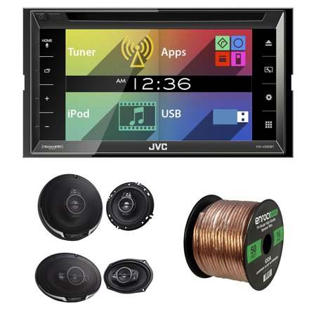 Jvc Kw V320bt Bluetooth Car Stereo 6 8  Touchscreen Display Monitor With Kenwood Kfc  6995Ps 6 5  2 Way And Kfc 1695Ps 6 5  3 Way Car Speaker Black And 50 16 Gauge Wire