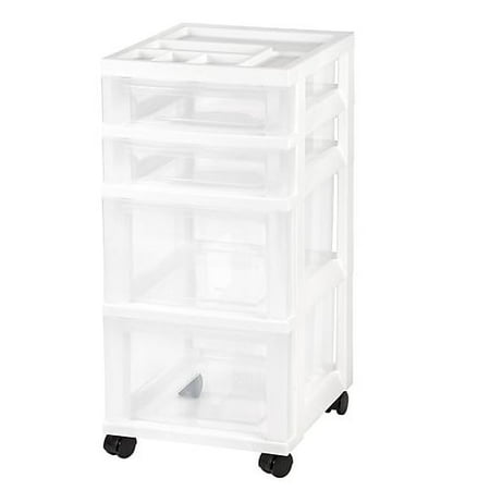 IRIS 4-Drawer Storage Cart with Organizer Top, (Series 4 Drawer Service Cart)