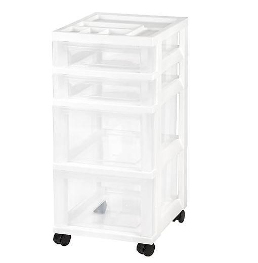 Genial IRIS 4 Drawer Storage Cart With Organizer Top, White