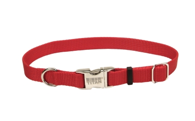 "Adjustable Nlyon 1"" Dog Collar W Titan Metal Buckle-Red, Neck Size 14""-20"" by Coastal Pet Products"