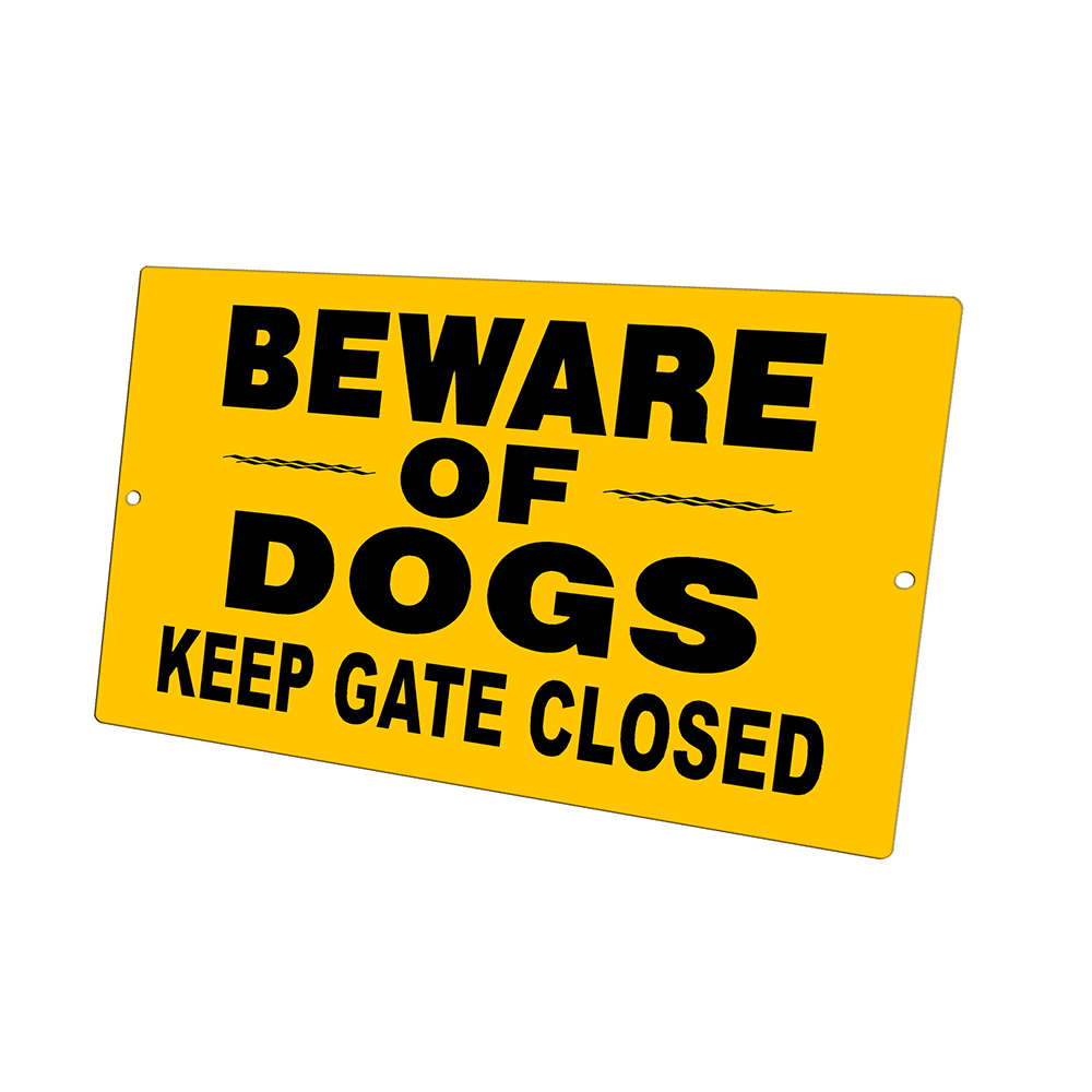 KuzmarK Yard Lawn Fence Sign - Beware Of Dogs Keep Gate Closed