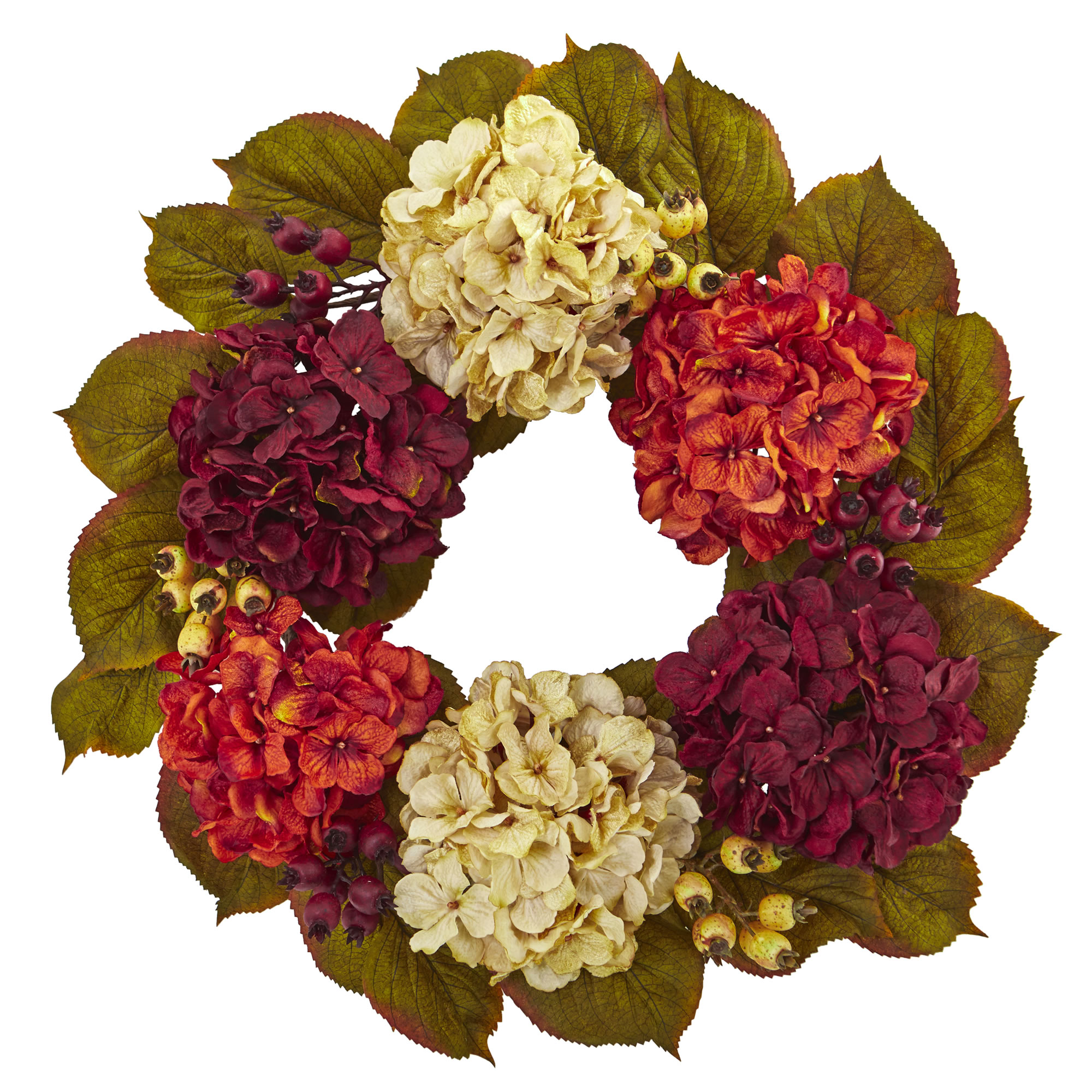 Nearly Natural 20 In. Hydrangea Berry Artificial Wreath
