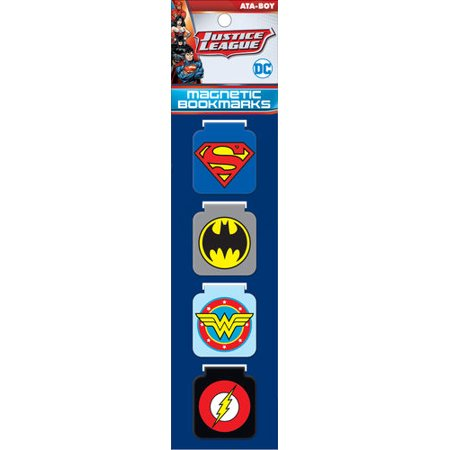 Justice League Superhero Logos Magnetic Page Bookmarks Set Of 4
