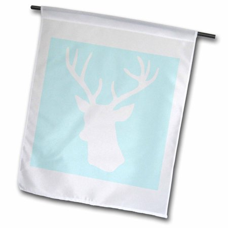 Image of 3dRose White deer head silhouette on mint blue - stag antlers - stylish modern pastel turquoise teal aqua - Garden Flag, 12 by 18-inch