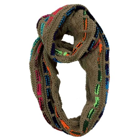 Cejon Womens Tan & Multi-Color Loop Knit Infinity Eternity Scarf Free Knitting Scarf
