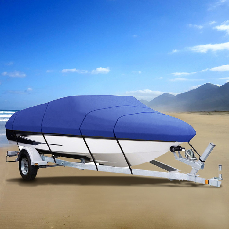 Blue Dustproof Universal 17' 18' 19' V-Hull Waterproof Boat Cover Fish Ski Trailerable Boat Cover Color All Weather... by YKS