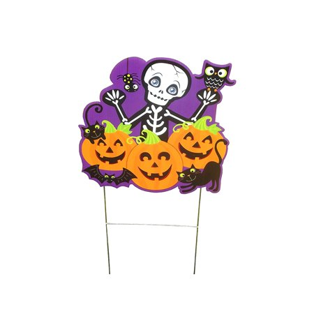 Aahs Engraving Cute Spooky Skeleton Pumpkin Patch Yard Sign, 15 X 15 inches