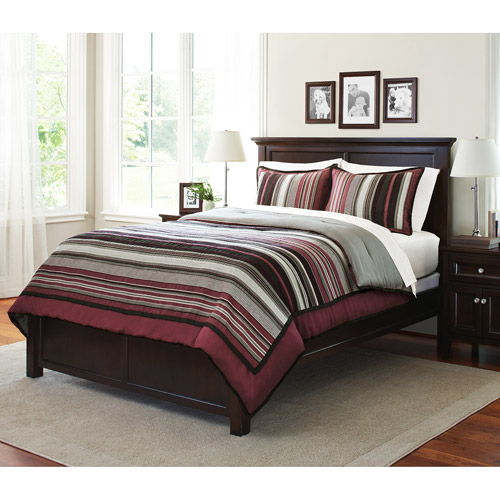 ***DISCONTINUE*** Canopy Soft Textured Striped Chenille Down Alternative 3-Piece Comforter Set, Plum Vine