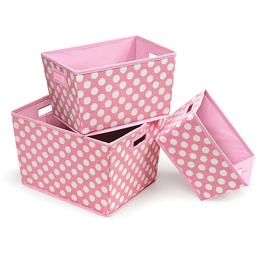 Badger Basket - Nesting Trapezoid 3-Basket Set, Pink Polka Dots