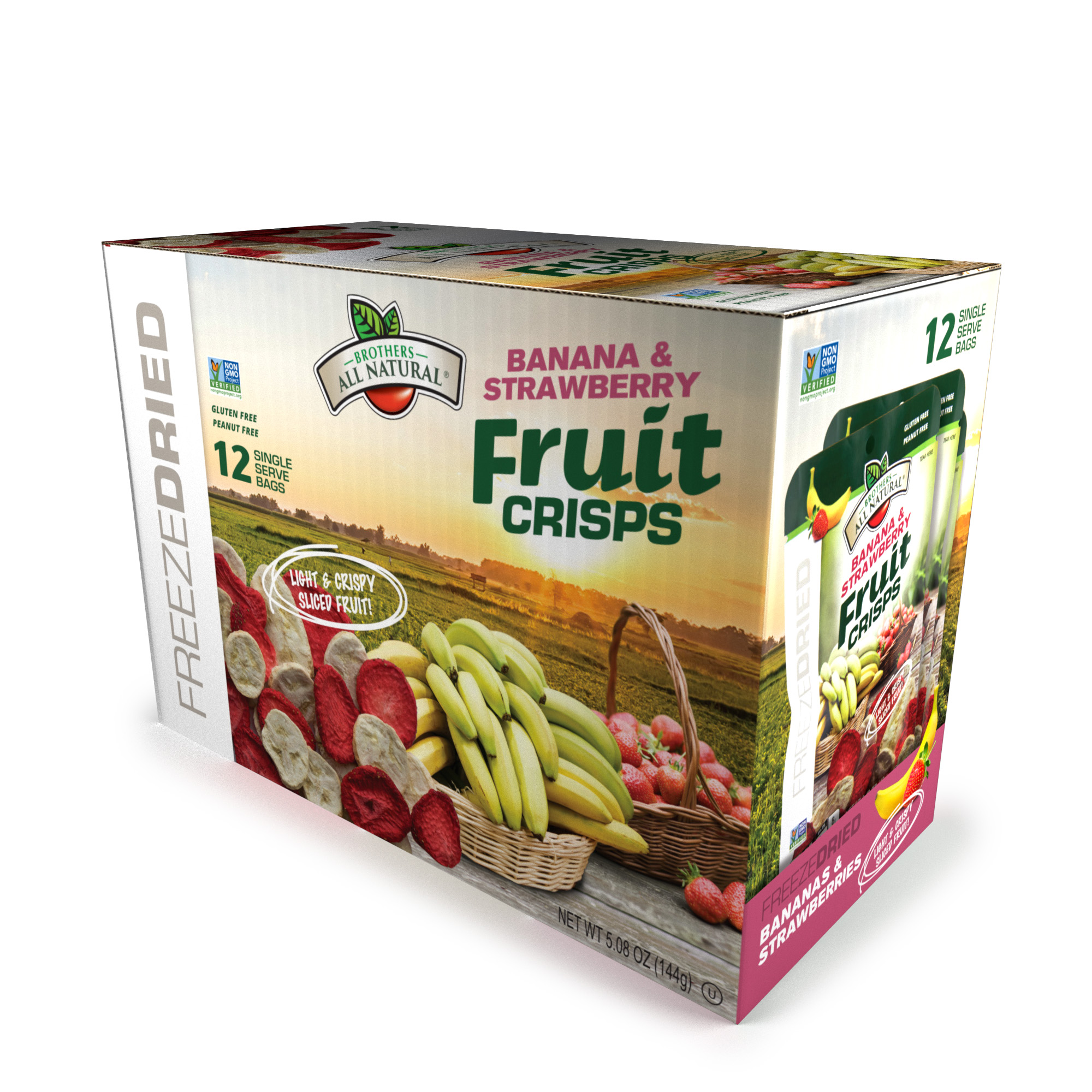 Brothers All Natural® Freeze-Dried Fruit Crisps, Strawberries and Bananas, 5.08 Oz, 12 Ct