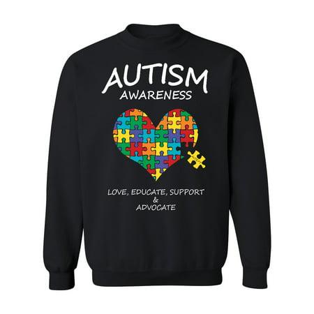 Autism Awareness Support Heart Puzzle Crewneck Sweatshirt, 2XL, Black (Multicolor)