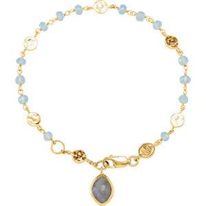 "18K Yellow Vermeil Blue Chalcedony & Labradorite 7.5"" Bracelet by"