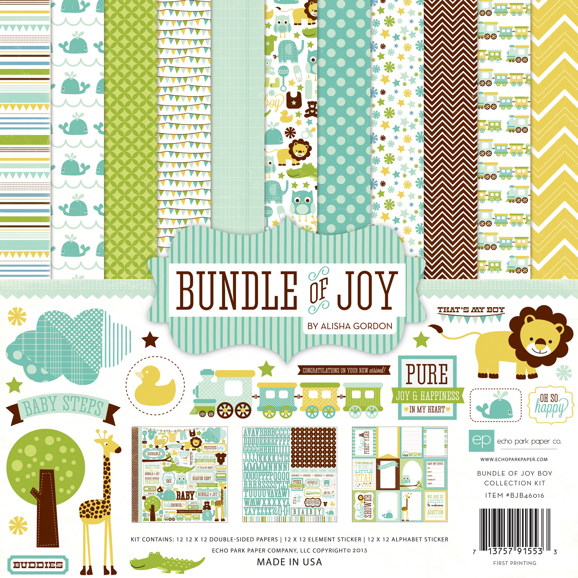 Echo Park Paper Bundle Of Joy Boy Collection Kit