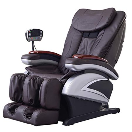 Full Body Electric Shiatsu Massage Chair Recliner with Built-In Heat Therapy Air Massage System Stretch Vibrating for Home Office Living Room,Brown