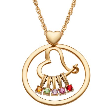 Birthstone Circle Slider Pendant (Personalized Women's Silvertone or Goldtone Family Circle And Heart Slider Pendant,)