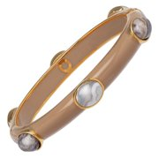 Lace Agate Six-Stone Bangle Bracelet in 18kt Gold-Plated Sterling Silver