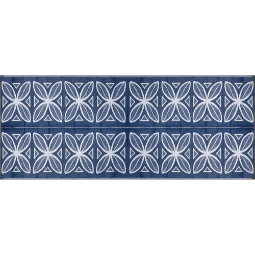 Camco Outdoor Mat, 8' x 20', Blue Botanical