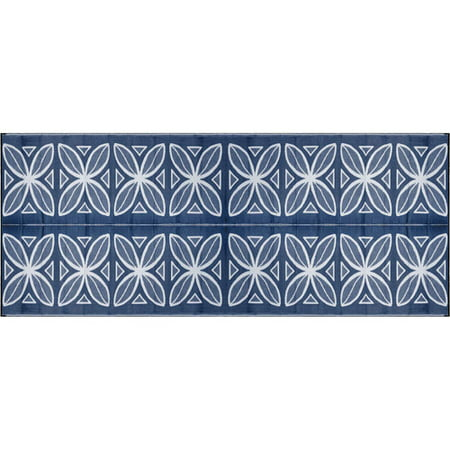 Camco 8 X 20 Reversible Rv Outdoor Mat Camping Blue Botanical