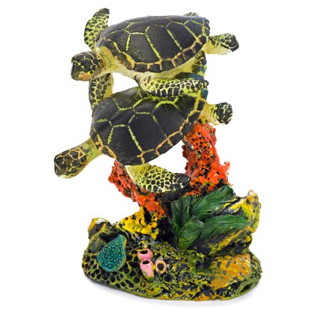 Penn Plax RR1109 2 x 3 in. Swimming Sea Turtles Aquarium Decoration Ornament