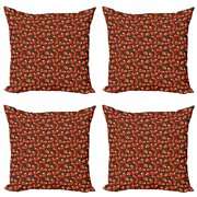 Fox Throw Pillow Cushion Case Pack of 4, Paw Print Pattern Background with Childrens Cartoon Cunning Forest Animals, Modern Accent Double-Sided Print, 4 Sizes, Orange Army Green White, by Ambesonne