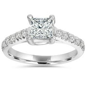 1 1/4ct Cathedral Pave Diamond Ring 14K White Gold