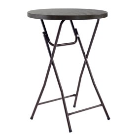 Mainstays 31 Round High Top Folding Table Walnut