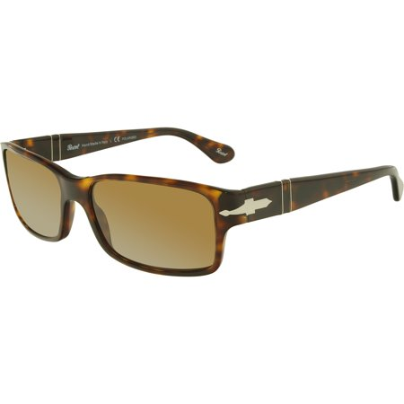 Men's Polarized PO2803S-24/57-58 Tortoiseshell Rectangle (Rectangle Sunglasses)
