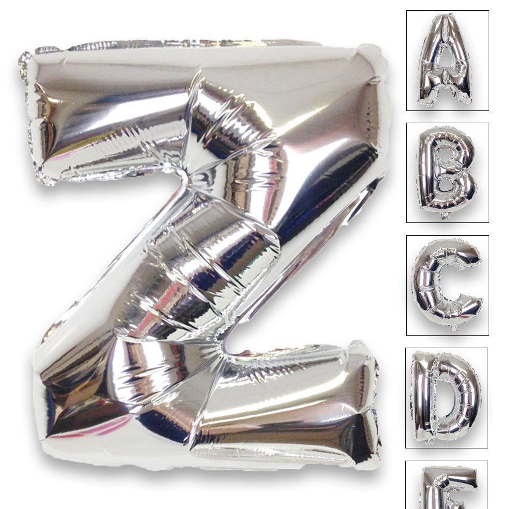 Just Artifacts Shiny Silver (30-inch) Decorative Floating Foil Mylar Balloons - Letter: Z - Letter and Number Balloons for any Name or Number Combination!