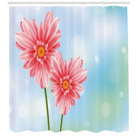 Gerber Daisy Shower Curtain, Abstract Heart Floral Petals on Bokeh Blurry Pastel Art Backdrop, Fabric Bathroom Set with Hooks, Coral and Multicolor, by Ambesonne Orange Floral Background