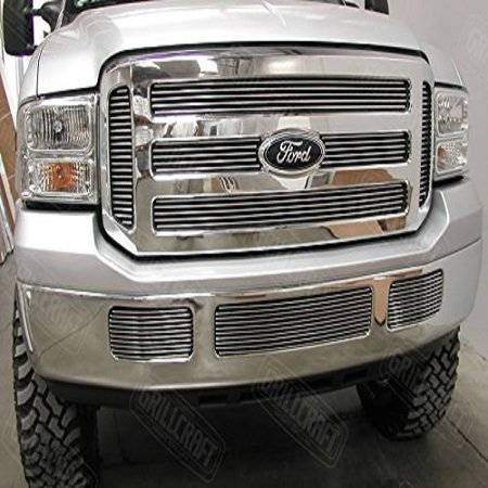 Grillcraft FOR1351-BAO BG Series Polished Aluminum Upper 6pc Billet Grill Grille Insert for Ford Excursion F250 Super Duty