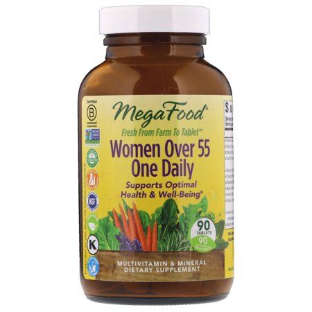 MegaFood - Women Over 55 One Daily, Multivitamin Support for Healthy Energy Production and Strong Bones with Vitamins C and D3, and Methylated Folate, Vegetarian, Gluten-Free, Non-GMO, 90