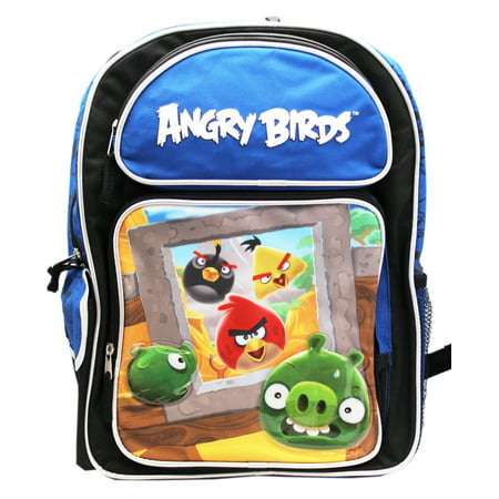 Angry Birds Surprise Attack Blue/Black Full Size Kids School Backpack (16in)