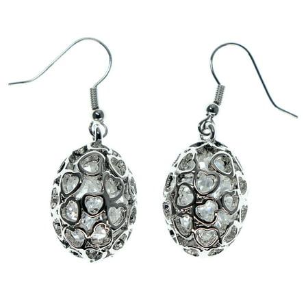 Filigree Stone (Silver Tone Dangle Earrings Clear Jewel in Egg Shaped Ball A Filigree Design)