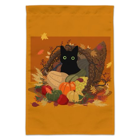 Thanksgiving Black Cat Hiding In Cornucopia with Pumpkins Garden Yard Flag (Pole Not - Cat Pumpkin