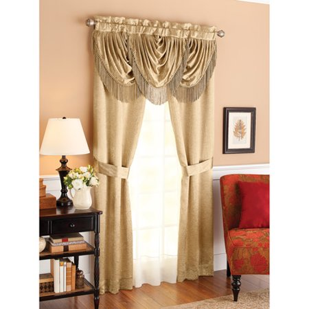 Better Homes And Gardens Triple Waterfall Fringe Window Curtains Set Curtain Panels And Valance