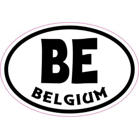 3in x 2in Oval BE Belgium Sticker Vinyl Cup Decal Bumper Stickers