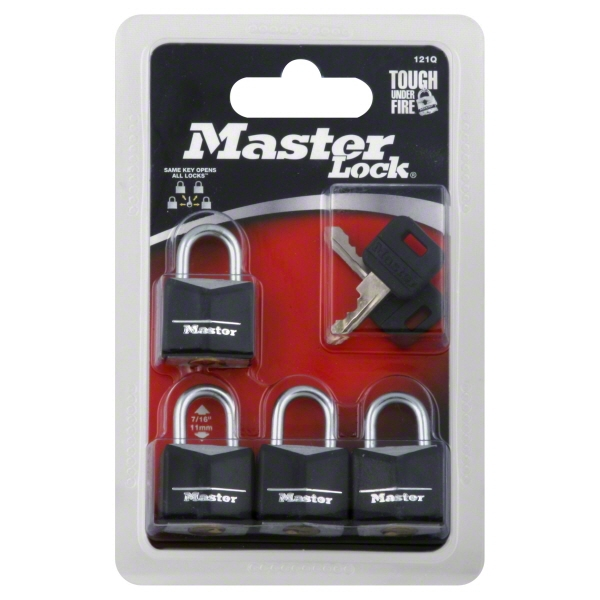 Master Lock Padlock 121Q Covered Solid Body, 3/4in (19mm) Wide, 4 Pack
