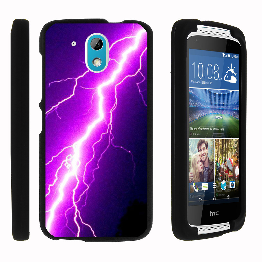HTC Desire 526, 526G (Verizon LTE), [SNAP SHELL][Matte Black] 2 Piece Snap On Rubberized Hard Plastic Cell Phone Case with Exclusive Art - Purple Lightning Bolt