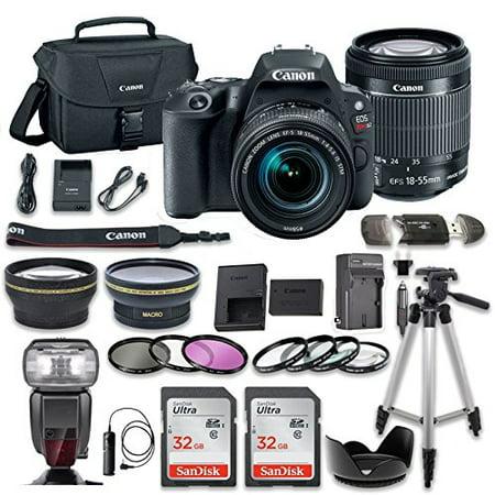 Canon EOS Rebel SL2 DSLR Camera with Canon EF-S 18-55mm f/4-5.6 IS STM Lens + 2.2x Aux Telephoto Lens + 0.43 Aux Wide angle Lens + 2 Pcs 32GB Memory Card + Premium Accessories Bundle (18