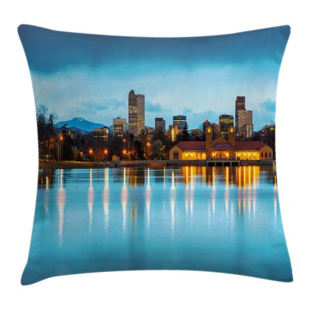 Urban Throw Pillow Cushion Cover  Downtown Denver Ferril Lake Colorado At The Morning City Park Capital  Decorative Square Accent Pillow Case  24 X 24 Inches  Sky Blue Yellow Orange  By Ambesonne