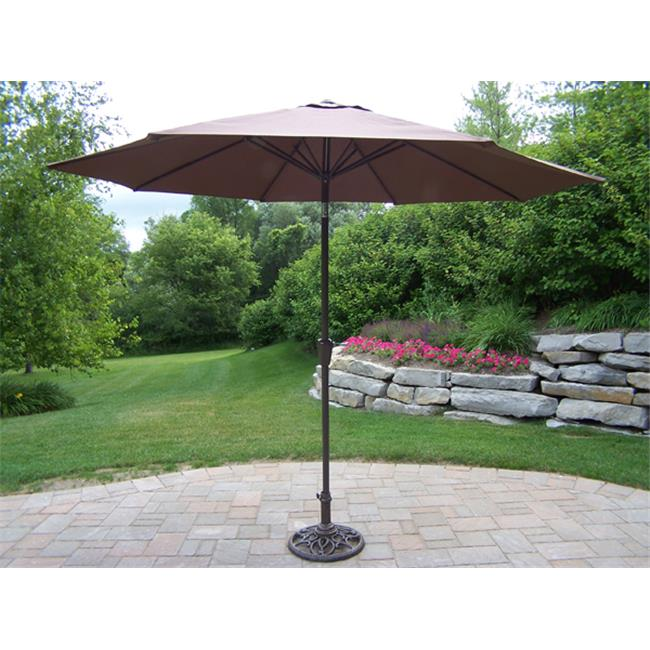 Oakland Living Corporation 4005-BN 9 Ft Umbrella with Crank and Tilt