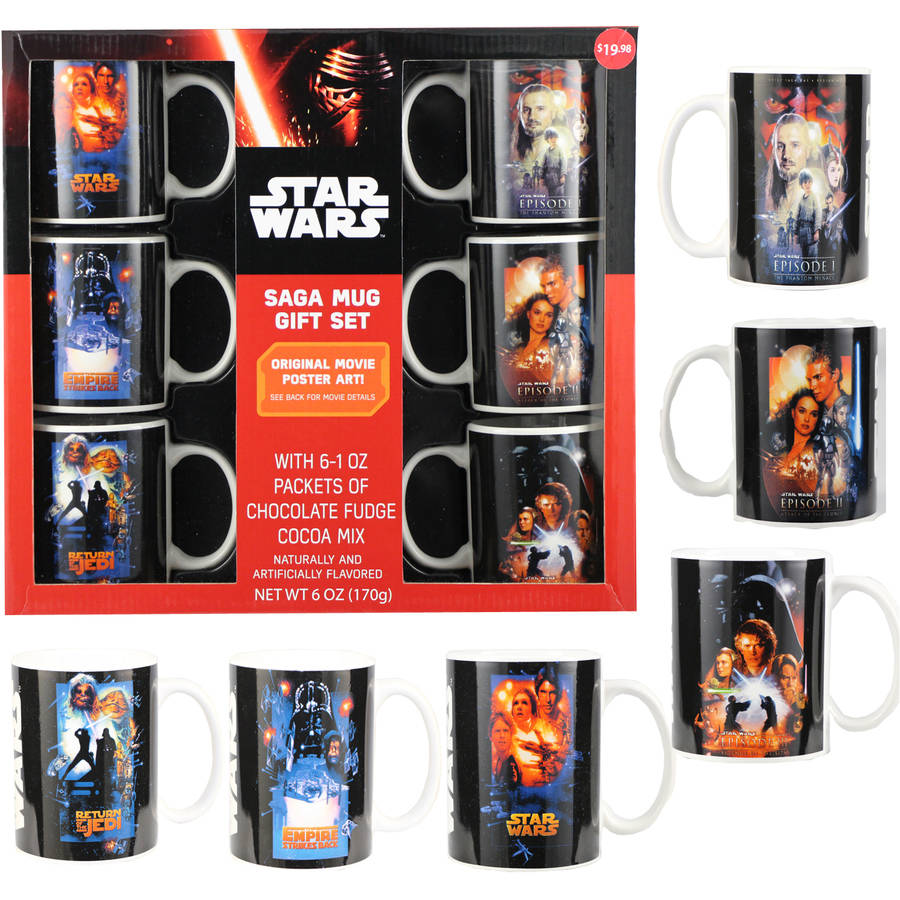 Star Wars Saga Mug Holiday Gift Set, includes 6 mugs & 6 Cocoa