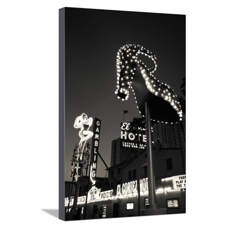 Ruby Slipper Neon Sign Lit Up at Dusk, Fremont Street, Las Vegas, Nevada, USA Stretched Canvas Print Wall Art By Green Light Collection