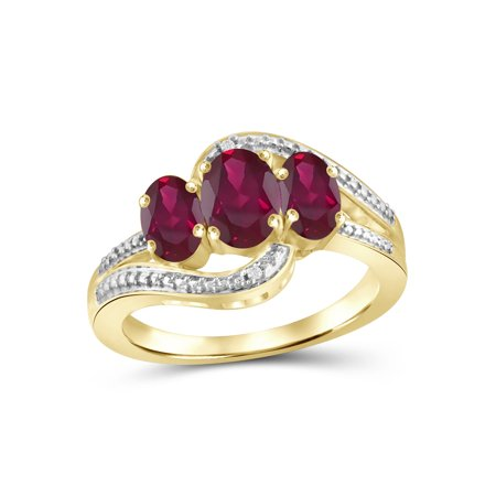 1 3/4 Carat T.G.W. Ruby And White Diamond Accent 14k Gold Over Silver